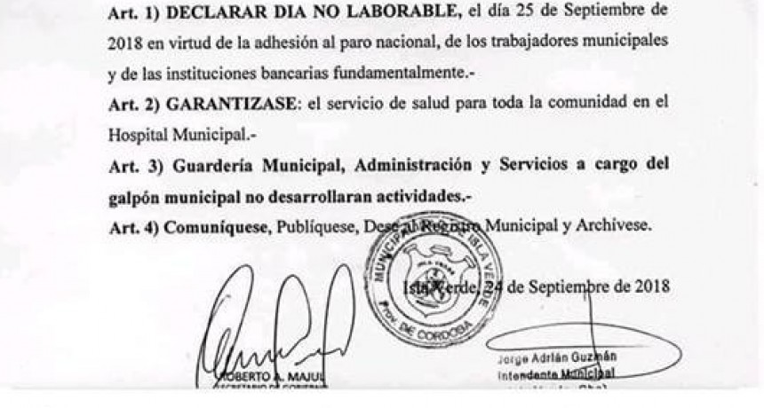 MARTES 25 DE SEPTIEMBRE...PARO NACIONAL. COMUNICADO MUNICIPAL Y DECRETO N° 77/18