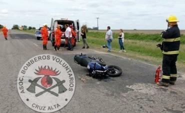 ACCIDENTE EN RUTA 15 ENTRE UNA MOTO Y UN UTILITARIO