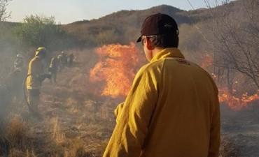 Bomberos combaten un frente de incendio en Bajo de Corrales y Salsacate