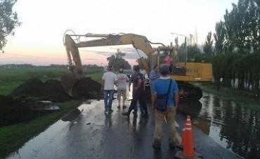 La ruta 11 cortada totalmente desde Camilo Aldao hacia Corral de Bustos