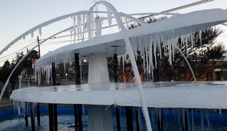 Villa Giardino amaneció congelada, 6 grados bajo cero