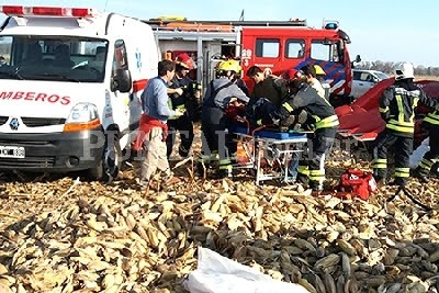 Huinca: sufrió heridas al quedar atrapado en una cosechadora
