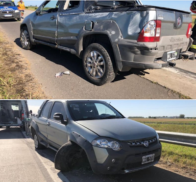 Despiste de un automóvil en autopista, que cruzó de carril, chocó contra guardarrail y realizó un vuelco